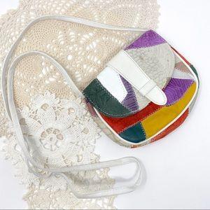 Vintage Multicolor Leather Patch Stitch Purse